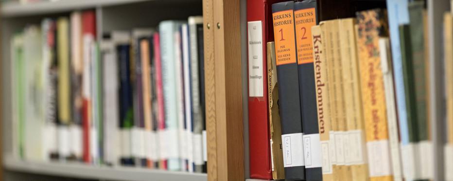 Hylde i bogreol fyldt med bøger