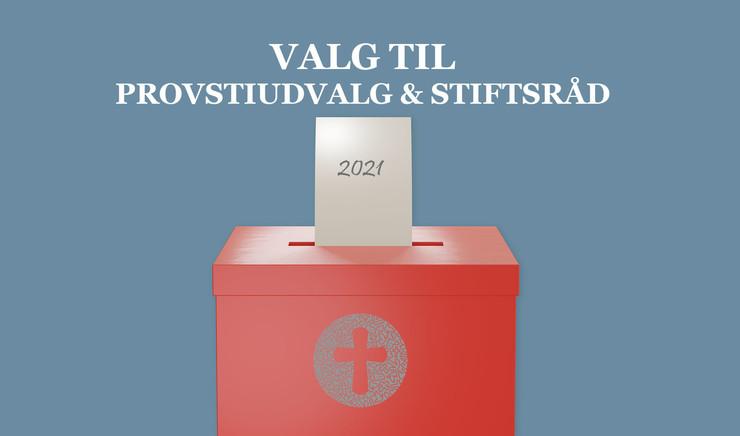 """Seddel i kasse med folkekirkens logo og teksten """"valg til provstiudvalg & stiftsråd"""""""
