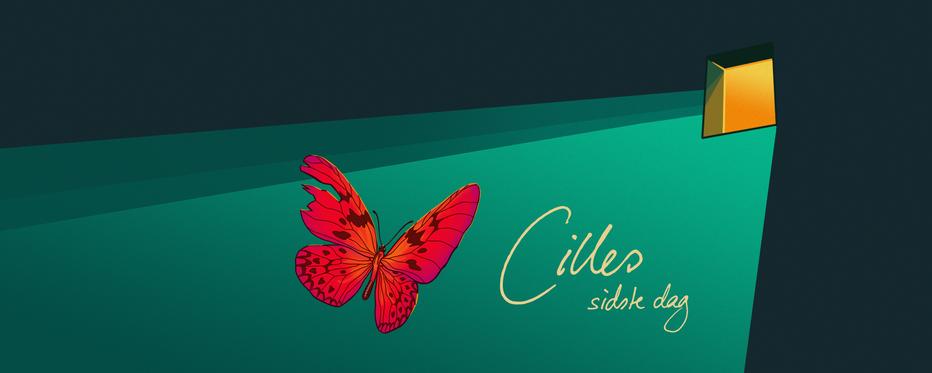Grafik af sommerfugl og teksten Cilles sidste dag